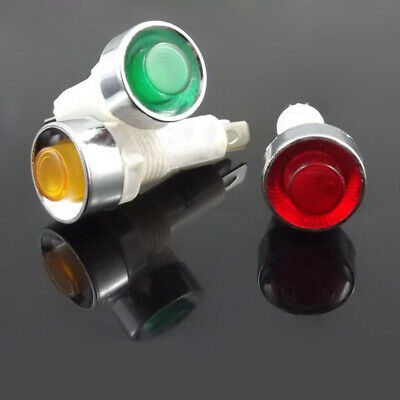 10mm Indicator Signal Warning Light 12V 24V 220V Red Yellow Green Panel Mount