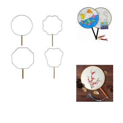 Bamboo Wood Handle Chinese Vintage Palace Round Hand Held Fan DIY Art Gifts