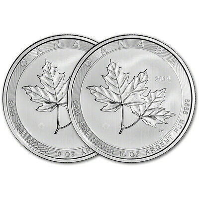2019 Canada Silver Maple Leaf - 10 oz - $50 - BU - Two 2 Coins