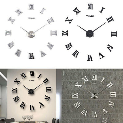 DIY 3D Wall Clocks Roman Numerals Large Mirrors Surface Luxury Big Art Clock New