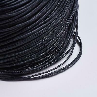 20 Metres WAXED COTTON CORD 1mm CRAFT JEWELLERY MAKING STRINGING BLACK