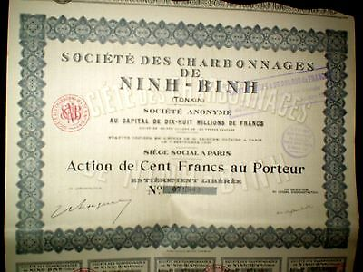 Société des Charbonnages de Ninh-Binh ,share cert.1927 French Indochina