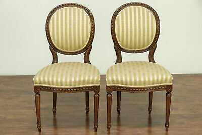 French Louis XVI Antique Pair Carved Fruitwood Side Chairs  #30653