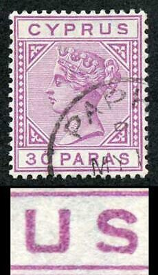 Cyprus SG32a 30pa Mauve Wmk Crown CA Die II VARIETY DAMAGED US Superb Used
