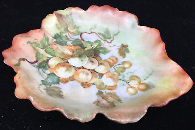 Hand Painted Autumn Orange Antique Figural Leaf Shaped Dish Bowl Grapes Bavaria