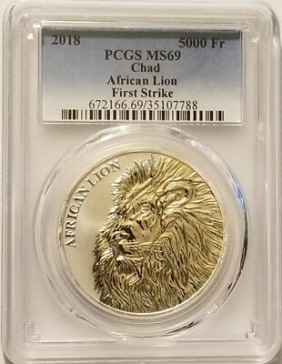 2018 Chad African Lion 1 oz .999 Fine Silver Bullion PCGS MS69 - First Strike