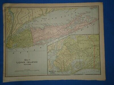 Vintage 1899 LONG ISLAND - BROOKLYN NEW YORK Map Old Antique Original Atlas Map