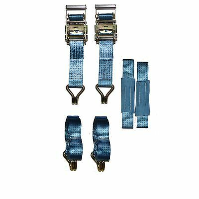Recovery Ratchet 2 x 4mtr Blue Transporter Strap Short Handles Soft Ring