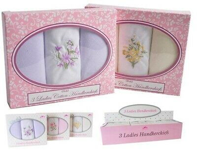 Ladies Womens 3 Pack Boxed 100% Cotton Handkerchiefs Hankies Box Embroidered NEW