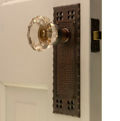 The Bungalow Passage Set in Bronze Finish with Glass Door Knobs