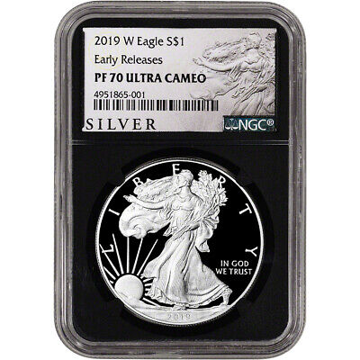 2019-W American Silver Eagle Proof NGC PF70 UCAM Early Releases ALS Label Black