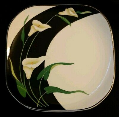 Set Of 4 Sango Quadrille Black Lilies Salad Plates 7 3/8""