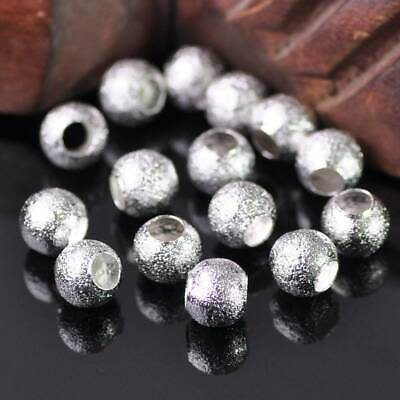 50pcs 8mm Round Silver Matted Metal Loose Brass Beads lot 3.5mm Hole for Jewelry