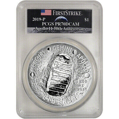 2019 P Apollo 11 Commemorative 5 oz Proof Silver $1 PCGS PR70 DCAM First Strike