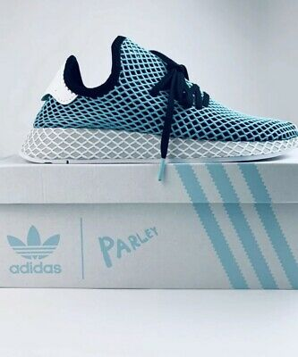 new styles 2ff0a 6f01a Adidas Originals Deerupt Runner Parley Black Blue Mens Running Shoe CQ2623  8.5