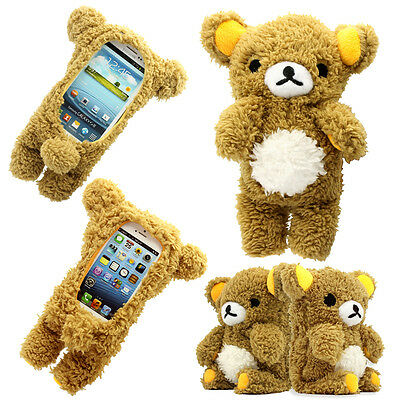 3D Cute Doll Toy Cool Plush Teddy Bear Cover Case For Samsung Apple Smart Phones