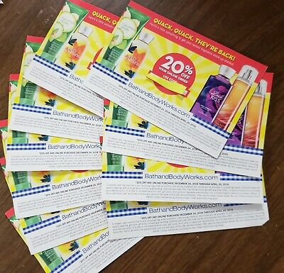 Bath and Body Works LOT OF 10 Online Coupons 20% Off, All Expire April 20, 2019