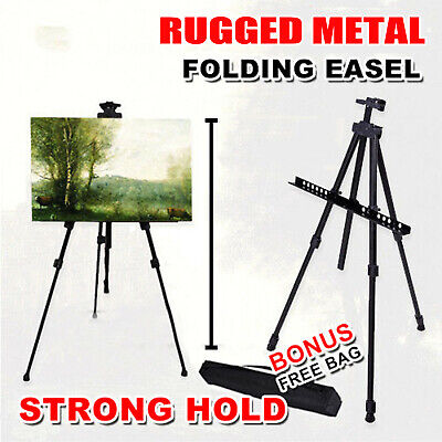 Rugged Metal Artist Folding Painting Easel Adjustable Tripod With Carry Bag