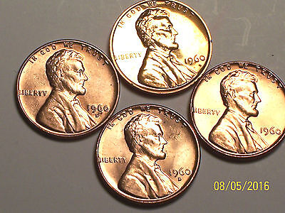 1960 @ *Awesome* set of (4) Lincoln Memorial Pennys
