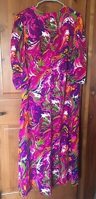 Vintage 70s Marble Psychedelic Technicolor Maxi Dress Handmade Medium/Large