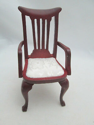 Dollhouse Miniature Kitchen Dining Arm Room Chair Cream Fabric ~ T3582