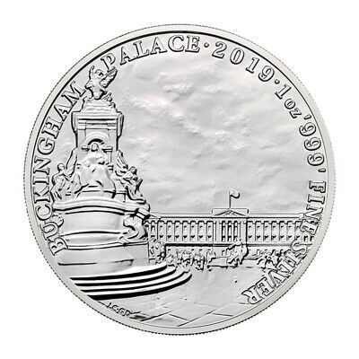 UK / Great Britain 2 POUNDS, 2019,Buckingham Palace 1oz .999 SILVER BU Coin, UNC