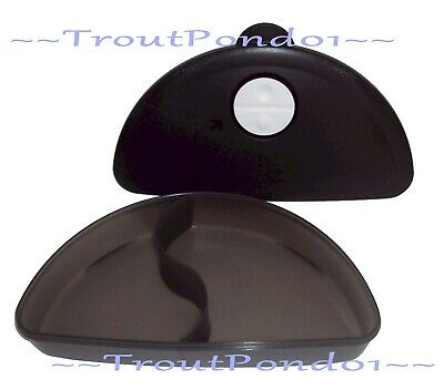 Tupperware CrystalWave Microwave Divided Lunch Dish Black Luncheon Plate New