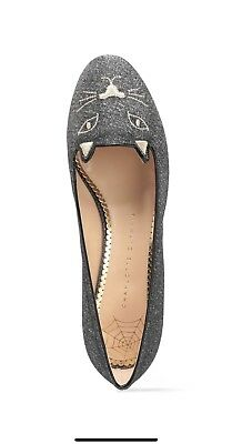 a9e50689f09 CHARLOTTE OLYMPIA KITTY embroidered metallic woven slippers SZ 40 ...