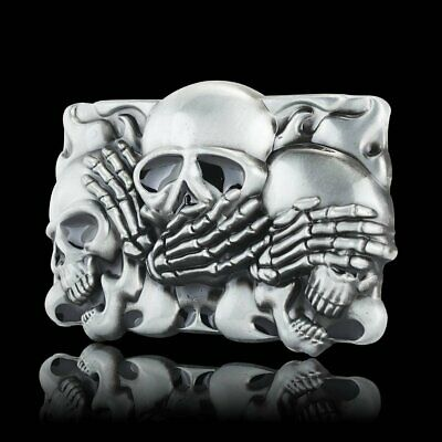 Vintage Alloy Metal Skull Pattern Silver Fashion Western Cowboy Belt Buckle Mens