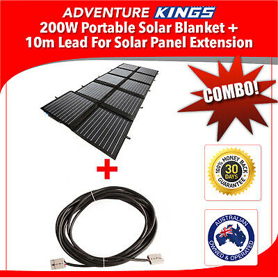 Adventure Kings 200W Portable Solar Blanket + 10m Lead For Solar Panel Extension