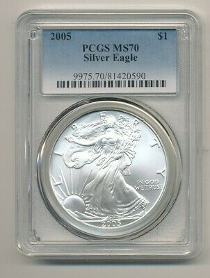 2005 American Silver Eagle 1 Oz Pcgs Ms 70 Exact Shown