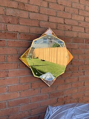 Vintage Art Deco Geometric Shaped Frameless Mirror with Coloured Peach Rose Gold