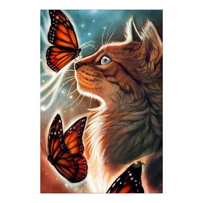 Cat Butterfly DIY 5D Diamond Painting Embroidery Cross Craft Stitch Home Decor