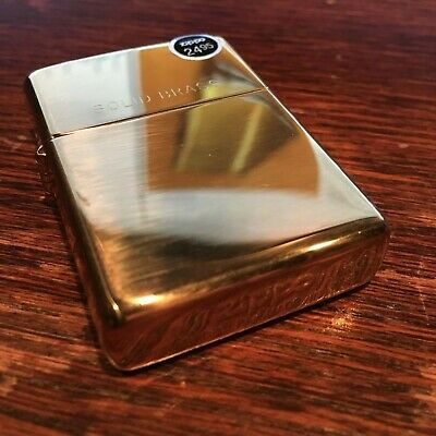 Genuine Zippo 254 high polish brass windproof Lighter CASE ONLY No Insert/Box