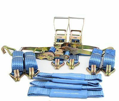 Recovery Ratchet 4 x 4mtr Blue Transporter Strap Standard Handles Soft Ring