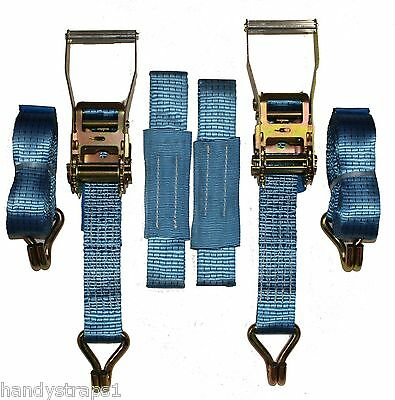 Recovery Ratchet 2 x 4mtr Blue Transporter Strap Standard Handles Soft Ring