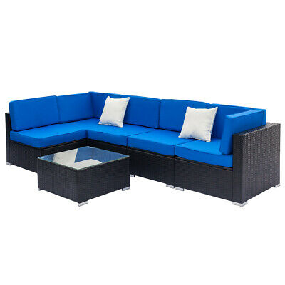 6PCS Outdoor Patio Furniture Couch Wicker Rattan Cushioned Sofa Sectional Set
