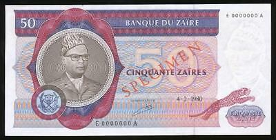 Zaire, 1980 50 Zaires, Specimen Banknote - almost Uncirculated