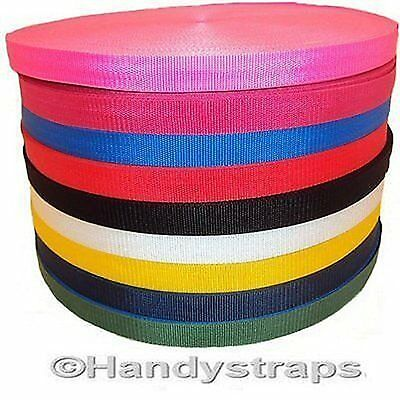 "Polypropylene Webbing Rolls of 20mm 3/4"" Red Blue Black Handy Straps"