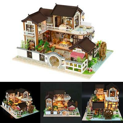 DIY Handcraft Miniature Project Dolls House Ancient Architecture Wooden Villa US