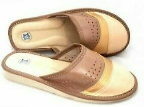 Women Ladies 100% Natural Leather Slipper Mules Clogs Slip On Shoes All Sizes