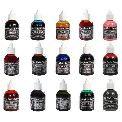 Sugarflair FULL SET 15 Edible Food Colour Liquid For Airbrushing Cake Decorating