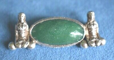 Antique Art Deco Egyptian Revival Sterling Silver Pin Brooch Possible Max Neiger