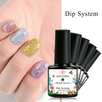 MEET ACROSS 10m Holographic Dipping Powder Dust Glitter Nail Art Manicure Tips