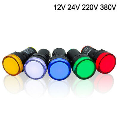 LED Indicator Warning Light Lamp 22mm Panel Mount 12V 24 220 380V Red Blue Green