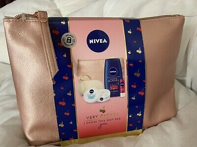 Brand New Nivea Cherry Skincare Gift Set Shower Moisturiser Lip Balm Bag