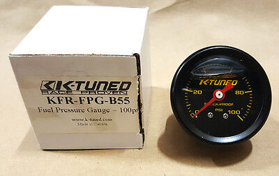 (SALE) K-Tuned Fuel Pressure Gauge (BLACK) Marshall 0-100 psi UNIVERSAL