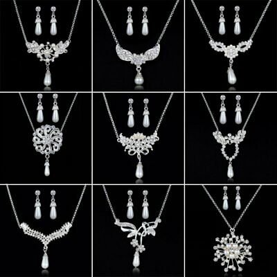Crystal Pearl Pendant Necklace Earrings Jewelry Set Wedding Bridal Party Prom