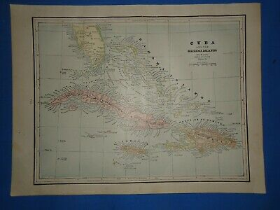 Vintage 1891 BAHAMA ISLANDS - CUBA Map Old Antique Original Atlas Map 22119