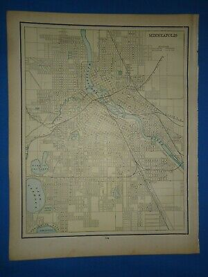 Vintage 1891 MINNEAPOLIS, MINNESOTA Map Old Antique Original Atlas Map 22119